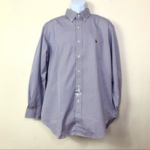 Ralph Lauren Mens Striped Shirt Purple white 32/33